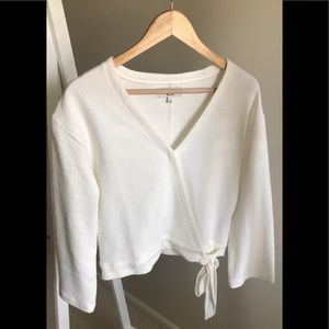 Madewell Texture and Thread Off White Wrap Top